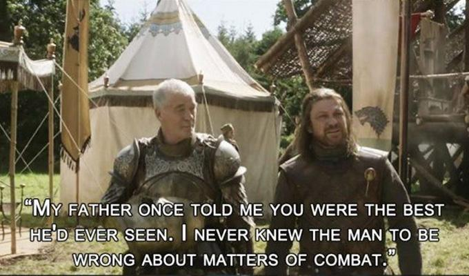 Via http://9gag.com/gag/a4YeqZ6/6-game-of-thrones-quotes-which-prove-that-barristan-selmy-s-death-was-a-major-blunder