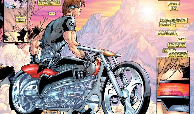 Via https://vignette3.wikia.nocookie.net/marveldatabase/images/f/f0/Cyclops%27_Motorcycle_In_Uncanny_X-Men_391_-_Page_02_%26_03.jpg/revision/latest?cb=20140922035619