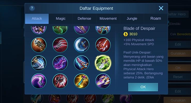 Item late game Mobile Legends.