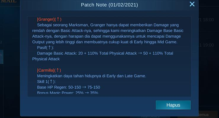 Update Patch Terbaru Mobile Legends.