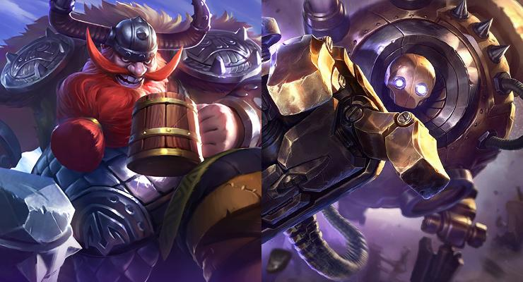 Franco dari Mobile Legends (kiri) dan Blitzcrank dari League of Legends (kanan).