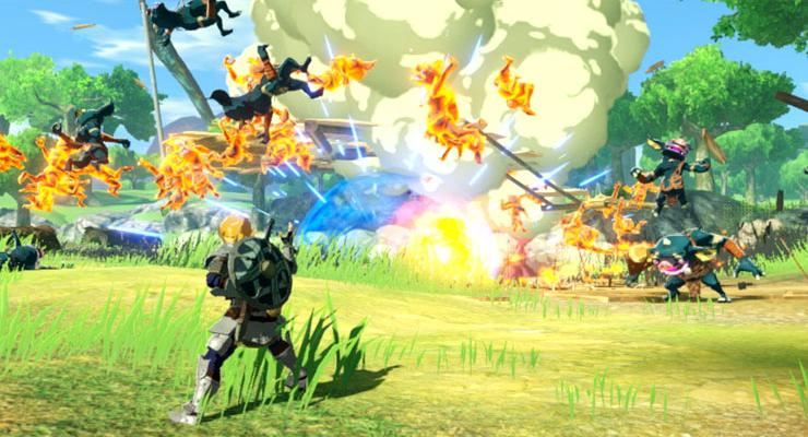 Tampilan gameplay dari Hyrule Warriors: Age of Calamity.