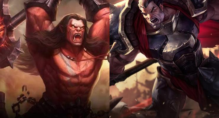Balmond dari Mobile Legends (kiri) dan Darius dari League of Legends (kanan).