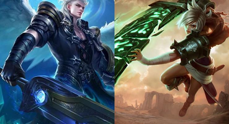 Alucard dari Mobile Legends (kiri) dan Riven dari League of Legends (kanan).