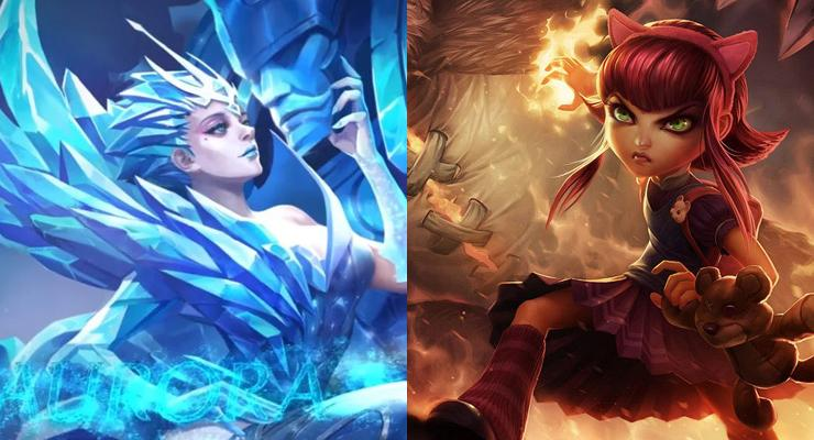 Aurora dari Mobile Legends (kiri) dan Annie dari League of Legends (kanan).