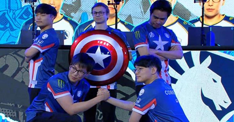 (League of Legends) Team Liquid Pamer Jersey Captain America di Rift Rivals 2019